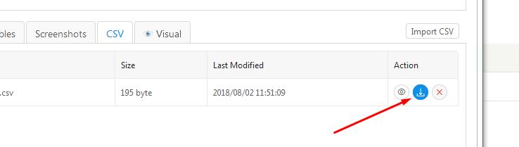 FF 61 0 1 download csv file from CSV tab fails - Kantu