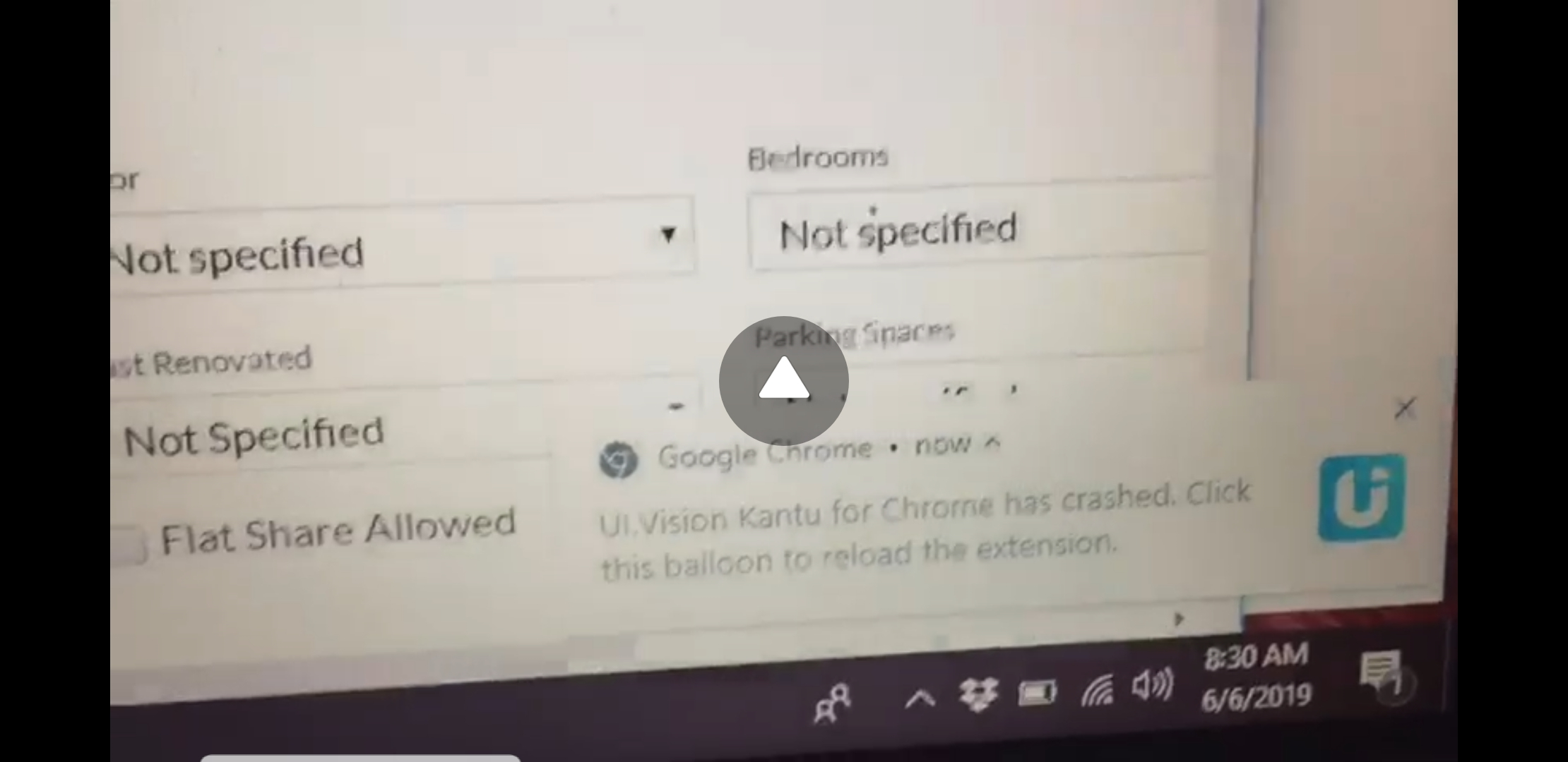 UI Vision Kantu for chrome has crashed  click this balloon